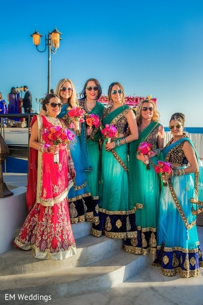 Bridal Party in Los Cabos, Mexico Indian Fusion Destination Wedding by EM Weddings