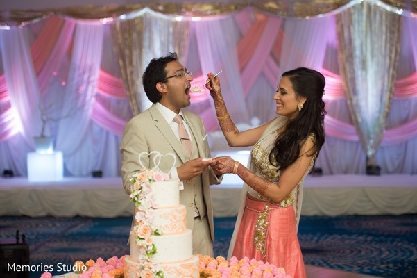 Cutting the Cake in Long Branch, NJ Indian Wedding by Memories Studio
