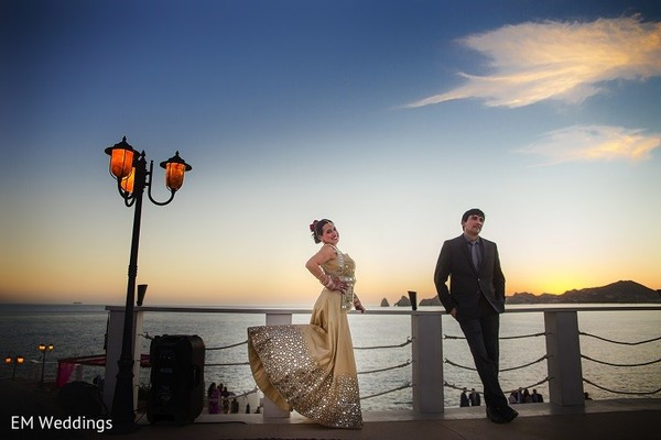 Reception Portrait in Los Cabos, Mexico Indian Fusion Destination Wedding by EM Weddings