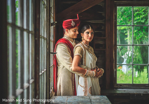 First Look Portraits in Hudson, NY Indian Wedding by Manish and Sung Photography