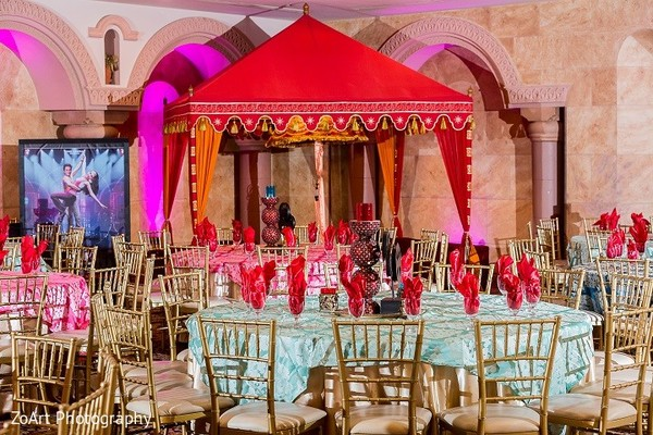 Sangeet Decor in Glendale, CA Indian Wedding by ZoArt Photography