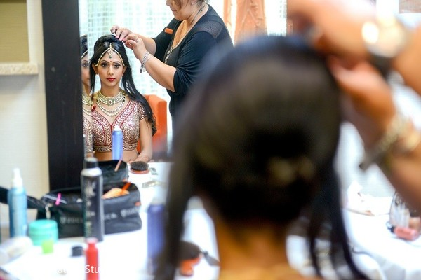 Getting Ready in Melville, NY Indian Wedding by House of Talent Studio