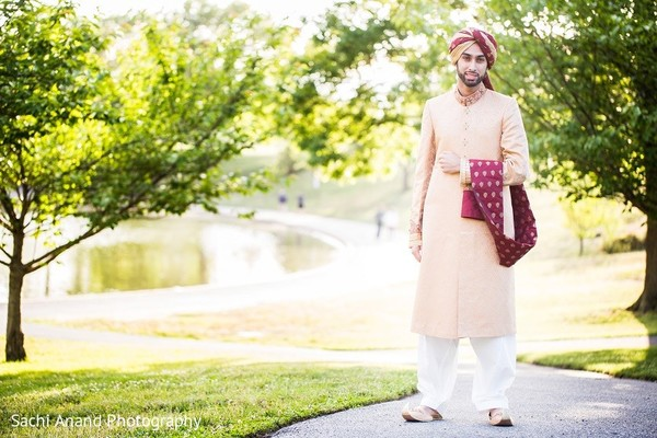 Groom Portrait in Uniondale, NY Pakistani Wedding by Sachi Anand Photography