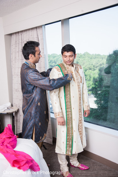 Groom Getting Ready in Atlanta, GA Indian Wedding by Christopher Brock Photography
