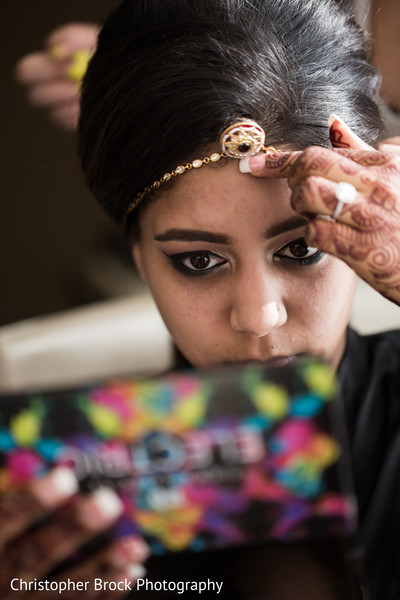 Bride Getting Ready in Atlanta, GA Indian Wedding by Christopher Brock Photography