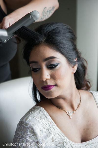 Bride Getting Ready for Reception in Atlanta, GA Indian Wedding by Christopher Brock Photography