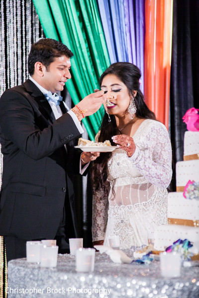 Cutting the Cake in Atlanta, GA Indian Wedding by Christopher Brock Photography