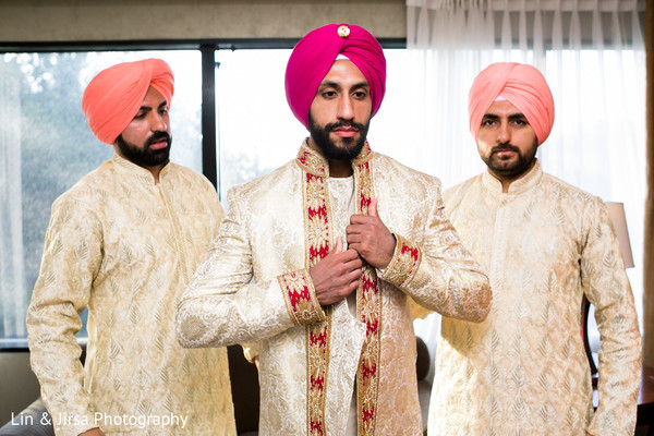 Groom Getting Ready in Los Angeles, CA Sikh Wedding by Lin & Jirsa Photography