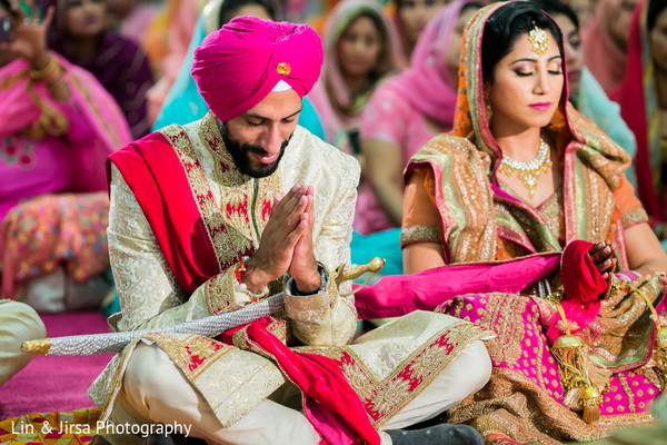Ceremony in Los Angeles, CA Sikh Wedding by Lin & Jirsa Photography