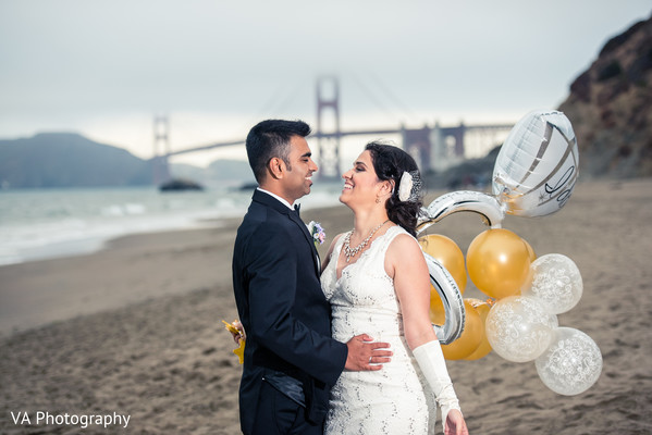 Indian reception portrait in San Francisco, CA Indian Wedding by VA Photography