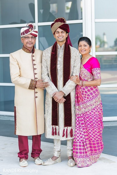 Family Portrait in Long Beach, CA Indian Wedding by RANDERYimagery