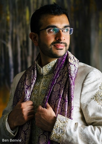 Groom in Ontario, Canada Pakistani Fusion Wedding by Ben Benvie