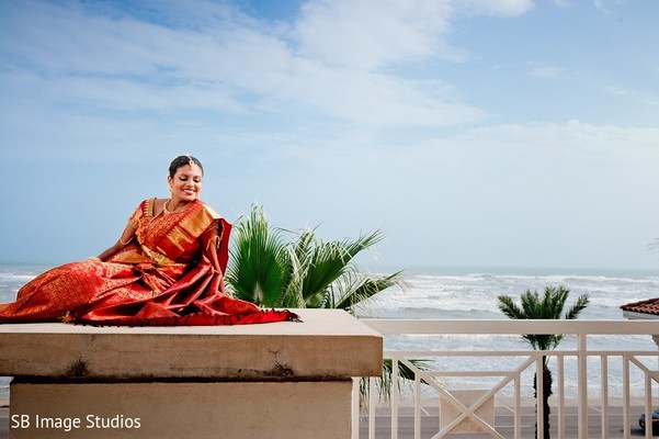Bridal Portrait in Galveston, TX Indian Wedding by SB Image Studios