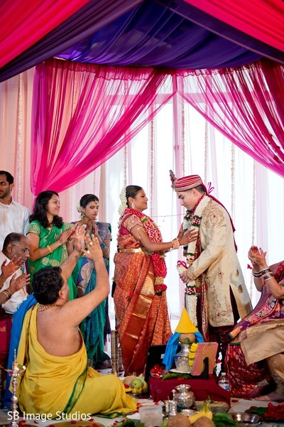 Ceremony in Galveston, TX Indian Wedding by SB Image Studios
