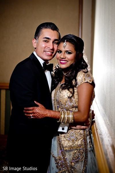 Reception Portrait in Galveston, TX Indian Wedding by SB Image Studios