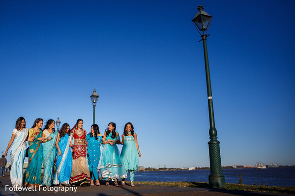 Bridal Party in New Orleans, LA Indian Wedding by Followell Fotography