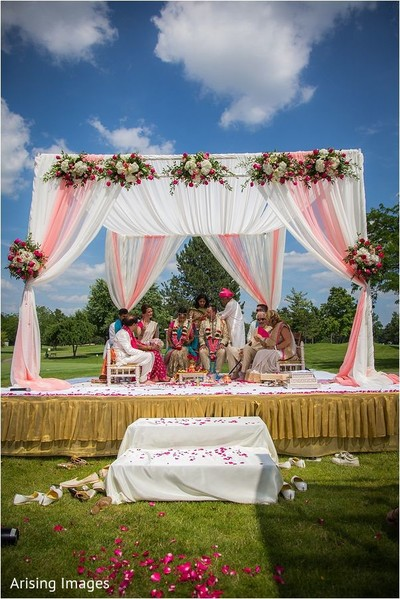 Ceremony in Grand Blanc, MI Indian Fusion Wedding by Arising Images