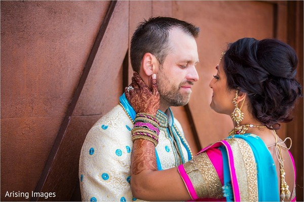 First look portrait in Grand Blanc, MI Indian Fusion Wedding by Arising Images