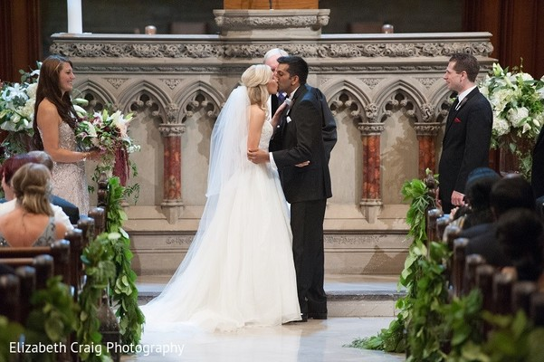 Ceremony in Pittsburgh, PA Indian Fusion Wedding by Elizabeth Craig Photography