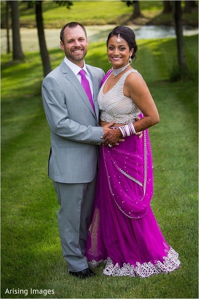 Reception portrait in Grand Blanc, MI Indian Fusion Wedding by Arising Images
