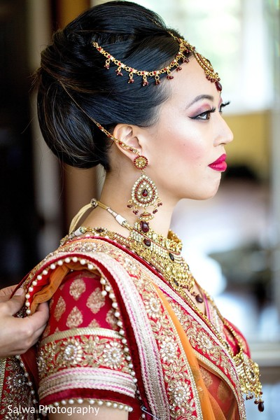 Earrings and hairdo in Long Island, NY Indian Fusion Wedding by Salwa Photography