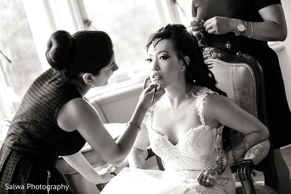 Getting ready in Long Island, NY Indian Fusion Wedding by Salwa Photography