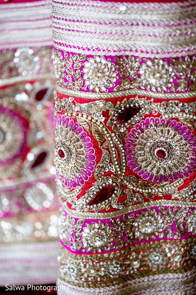 Lengha details in Long Island, NY Indian Fusion Wedding by Salwa Photography