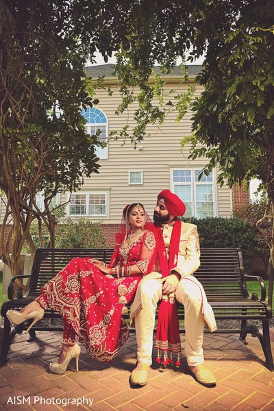 First look portrait in Rockville, MD Sikh Wedding by AISM Photography