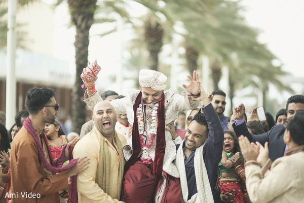 Baraat in Daytona Beach, FL Indian Fusion Wedding by Ami Video