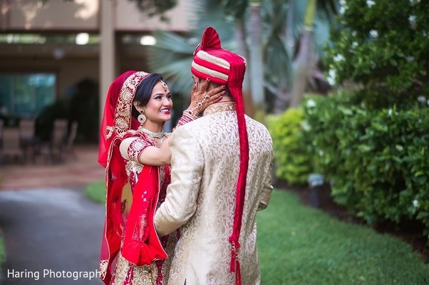 First Look in Safety Harbor, FL Indian Fusion Wedding by Haring Photography