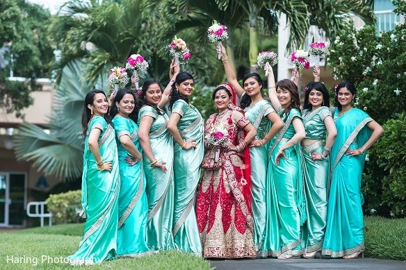 Bridal Party in Safety Harbor, FL Indian Fusion Wedding by Haring Photography