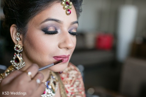 Getting Ready in Hauppauge, NY Indian Wedding by KSD Weddings