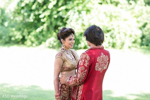 First Look in Hauppauge, NY Indian Wedding by KSD Weddings