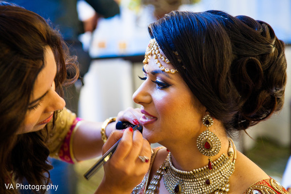 Getting ready in Fremont, CA Indian Fusion Wedding by VA Photography