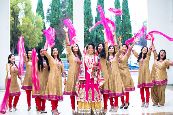 Bridal party in Fremont, CA Indian Fusion Wedding by VA Photography