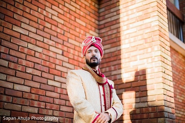 Groom Portrait in Chicago, IL Indian Wedding by Sapan Ahuja Photography