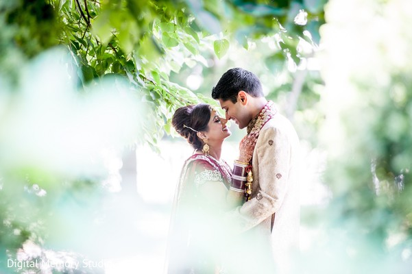 First look portrait in Huntington, NY Indian Wedding by Digital Memory Studio