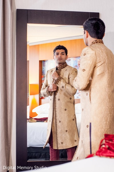 Groom getting ready in Huntington, NY Indian Wedding by Digital Memory Studio