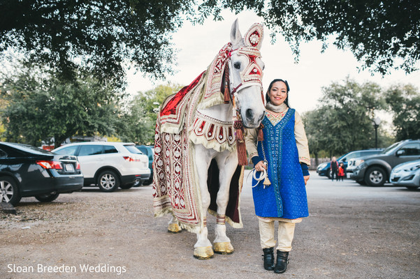 Horse for baraat in Austin, TX South Asian Wedding by Sloan Breeden Photography