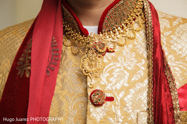 Sherwani details in Brockport, NY South Asian Wedding by Hugo Juarez Photography