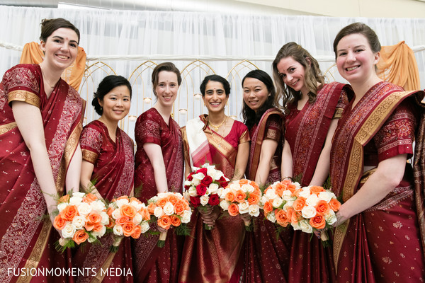 Bridal party in Mountain View, CA South Asian Wedding by Fusion Moments Media
