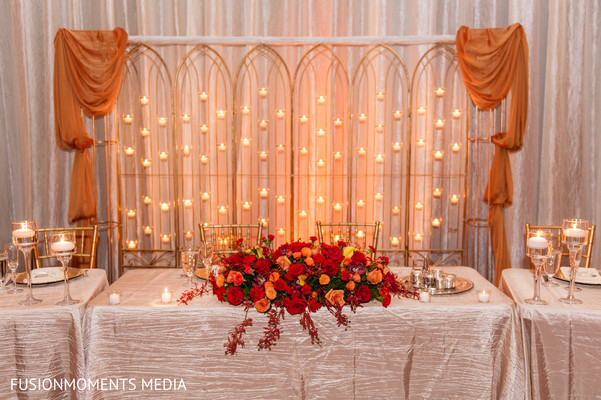 Reception decor in Mountain View, CA South Asian Wedding by Fusion Moments Media
