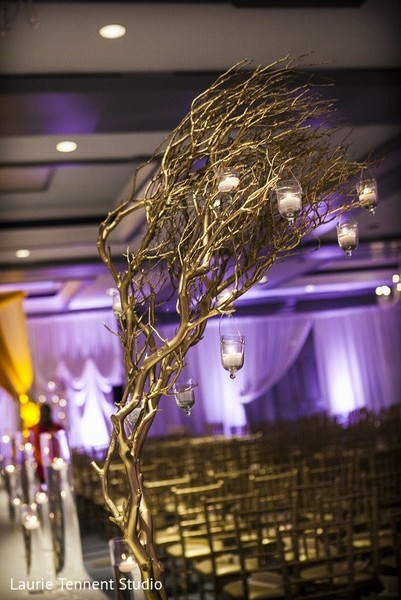 Ceremony Decor in Plymouth, MI  Indian Fusion Wedding by Laurie Tennent Studio