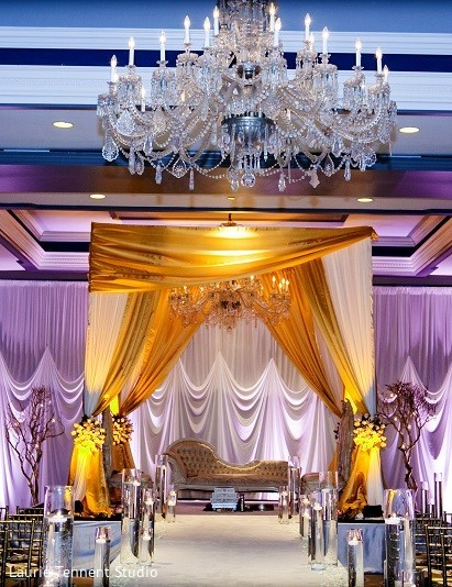 Mandap in Plymouth, MI  Indian Fusion Wedding by Laurie Tennent Studio