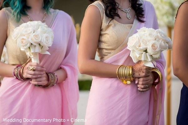 Bridal Party Bouquets in San Mateo, CA Indian Fusion Wedding by Wedding Documentary Photo + Cinema