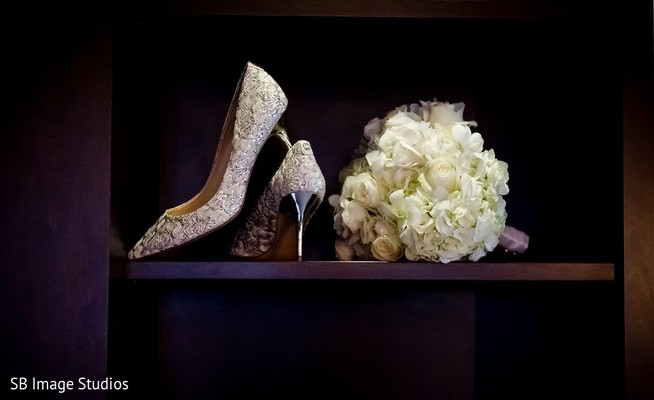 Shoes & Bouquet in Houston, TX Indian Fusion Wedding by SB Image Studios