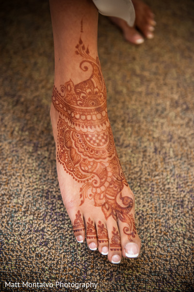 Mehndi feet in Austin, TX Indian Fusion Wedding by Matt Montalvo Photography