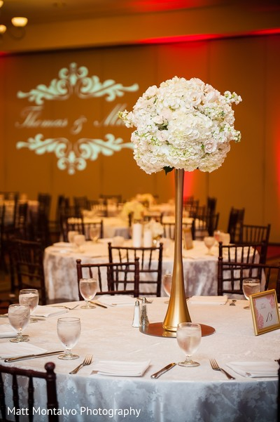 Centerpiece in Austin, TX Indian Fusion Wedding by Matt Montalvo Photography