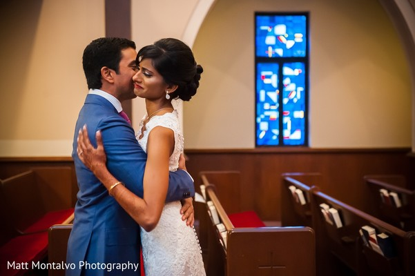 First look portrait in Austin, TX Indian Fusion Wedding by Matt Montalvo Photography