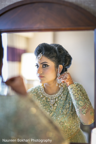 Bride getting ready in Herndon, VA Indian Wedding by Naureen Bokhari Photography